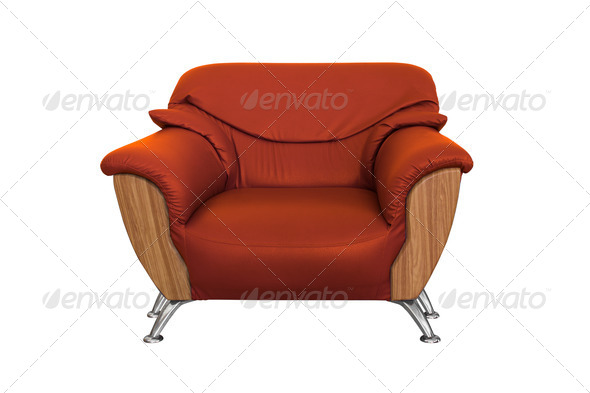 Modern orange sofa - Stock Photo - Images