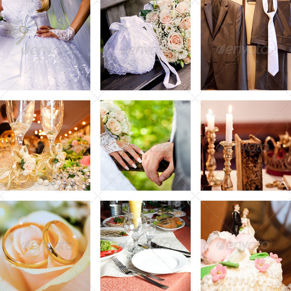 PhotoDune collage of nine wedding photos 2754683