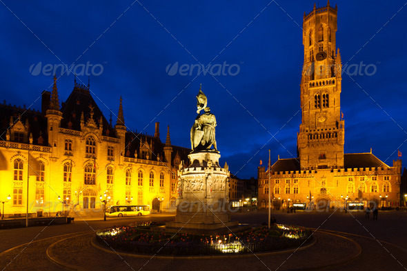 Statue Center Old City Square Bruges Belfry - Stock Photo - Images
