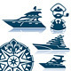Motor Luxury Yachts Silhouettes Set - GraphicRiver Item for Sale