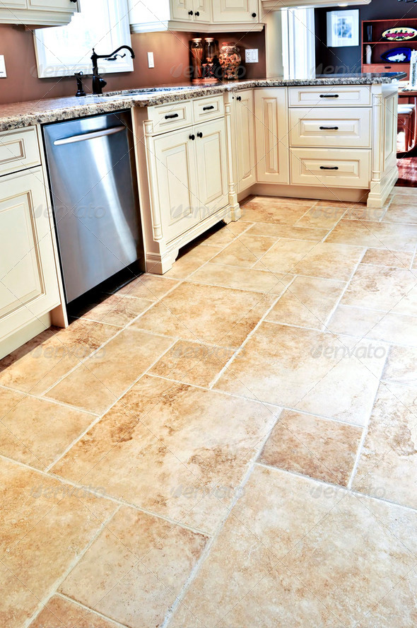 PhotoDune Tile Floor In Modern Kitchen 195745