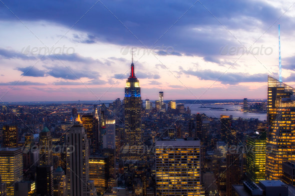 Sunset over New York City Skyscrapers - Stock Photo - Images