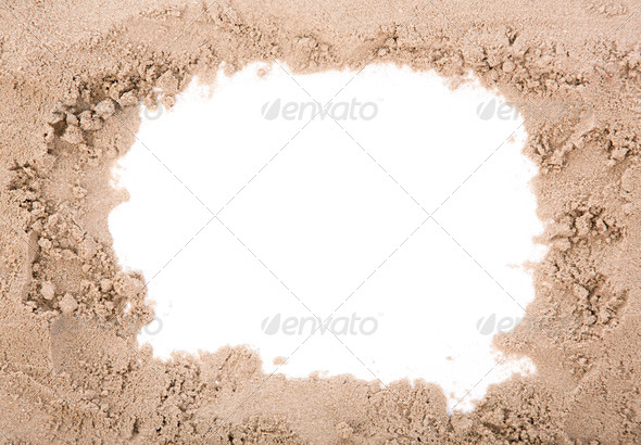 Sand frame with copy space - Stock Photo - Images