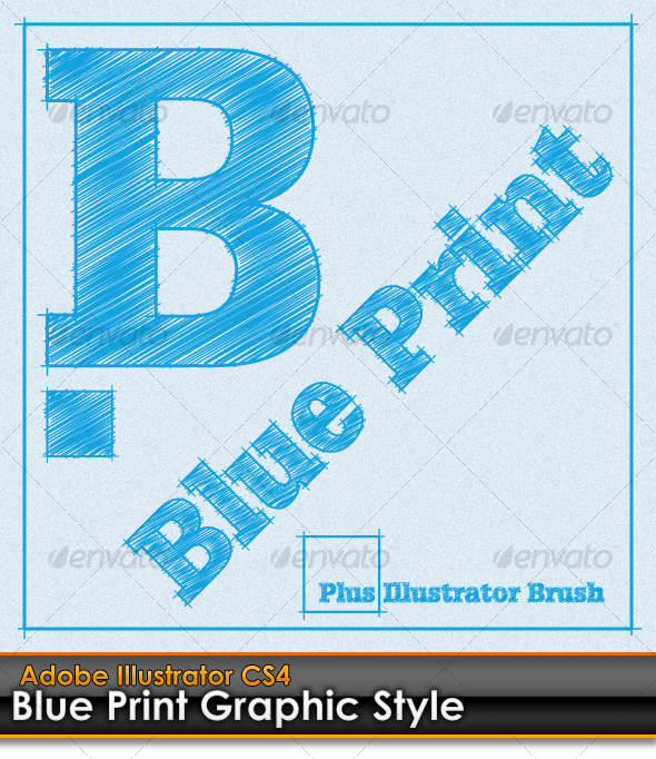 GraphicRiver Blue Print Illustrator Graphic Style plus AI Brush 99532