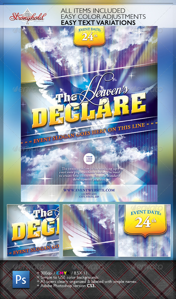 Heaven's Declare Church Flyer Template - Church Flyers
