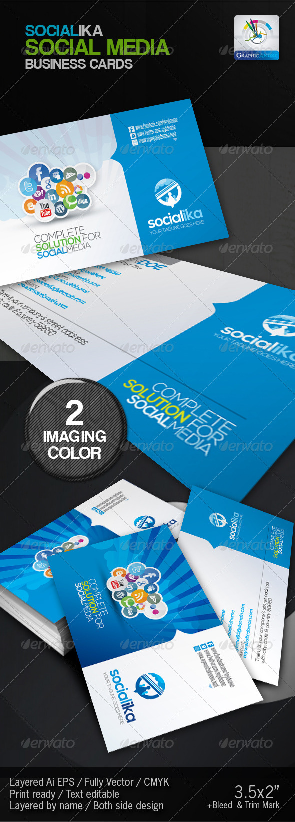 Socialika Social Media Business Card - Business Cards Print Templates
