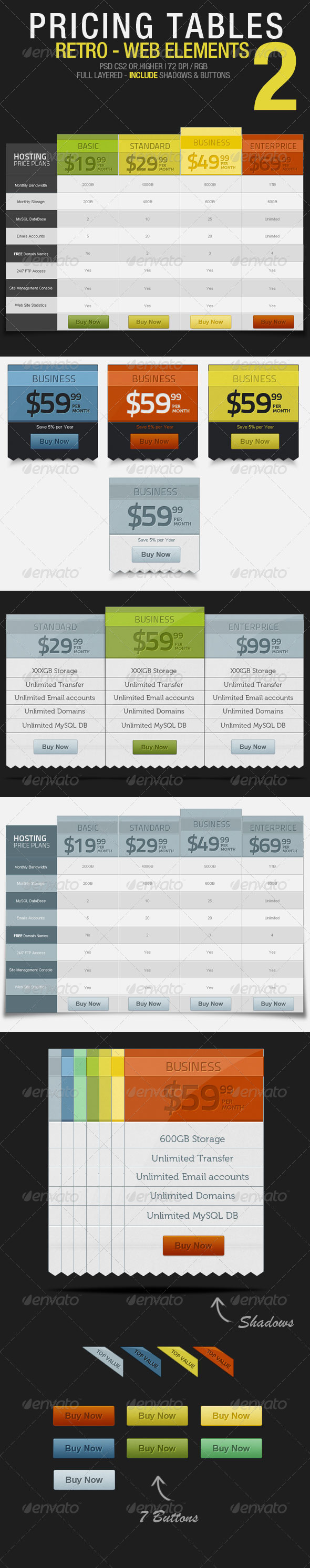 Pricing Tables 02 – Retro - Tables Web Elements
