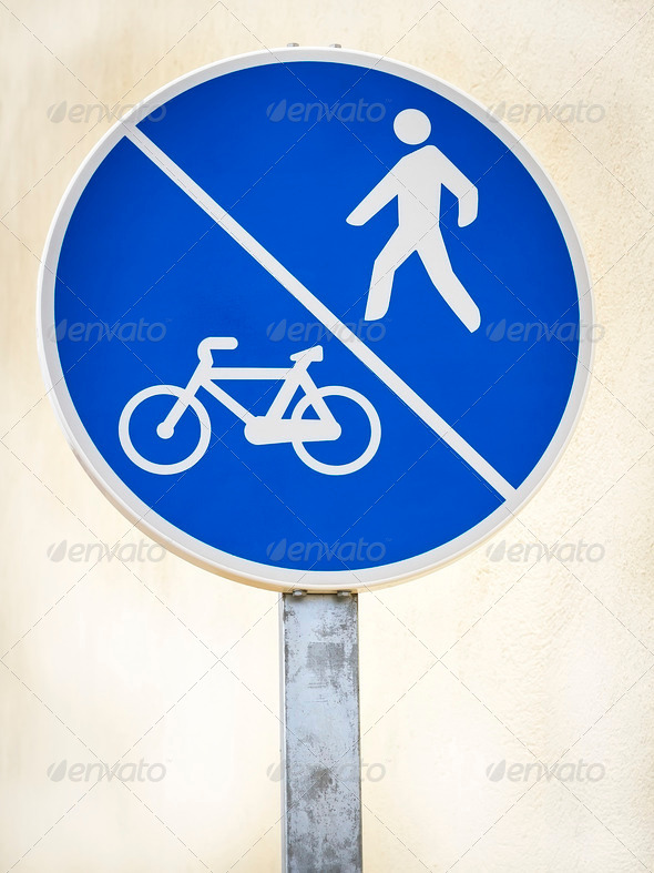 signal pedestrian and bicycle lane - Stock Photo - Images