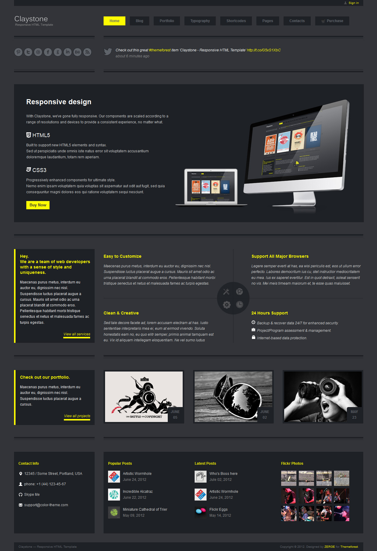 Claystone - Responsive HTML Template - 02 Home Flex Dark