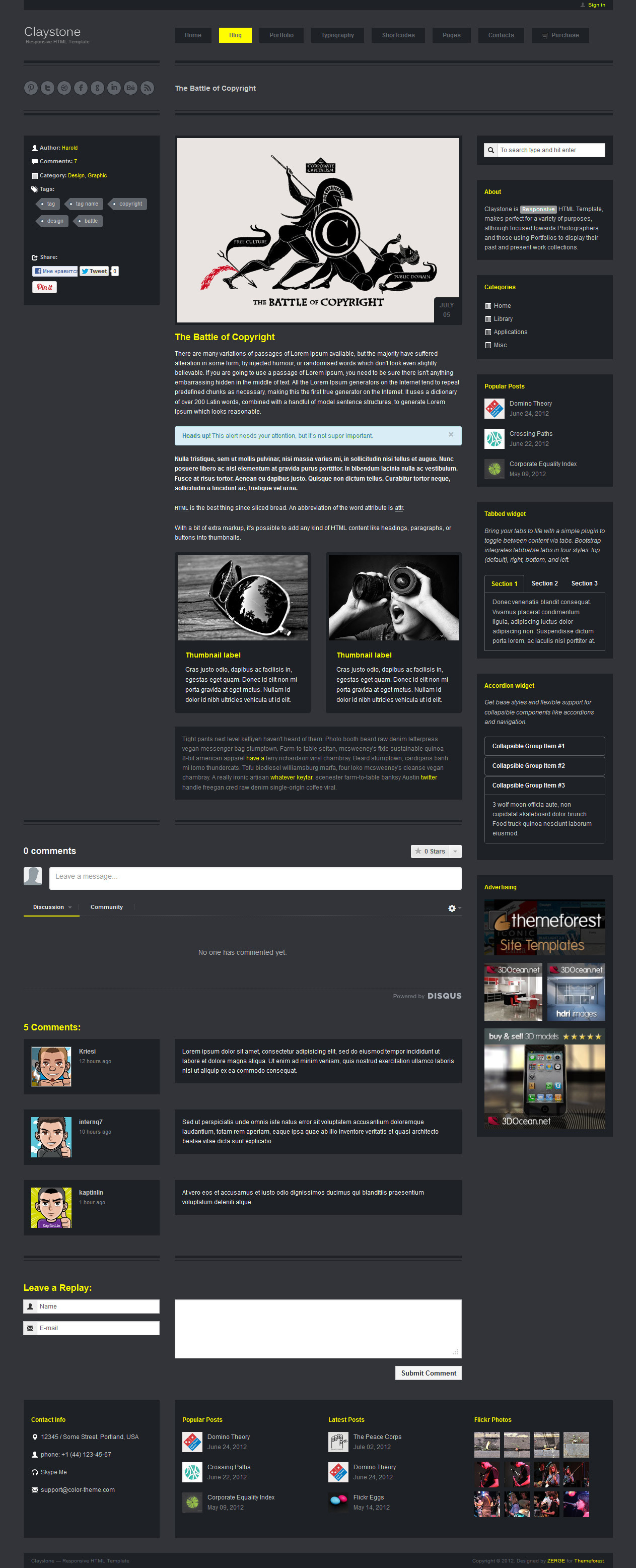 Claystone - Responsive HTML Template - 05 Blog Single Dark