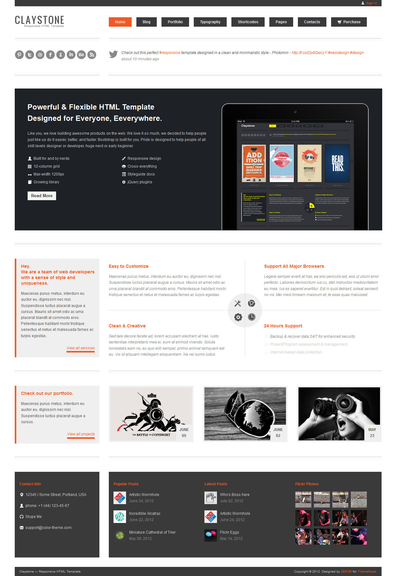Claystone - Responsive HTML Template - 13 Home Flex Light