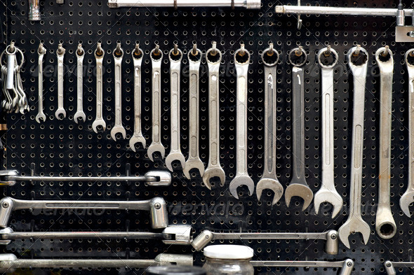 wall with tools - Stock Photo - Images