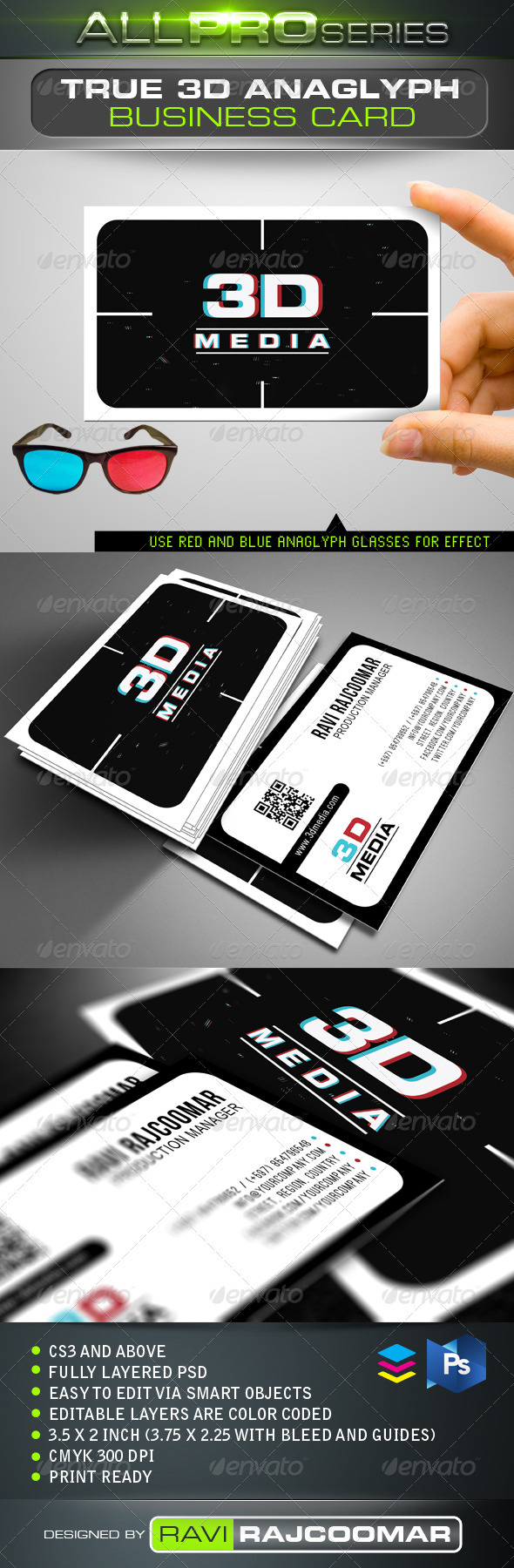 True 3D Anaglyph Business Card - Business Cards Print Templates