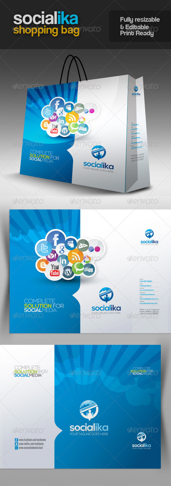 Socialika Social Media Shopping Bag - Packaging Print Templates