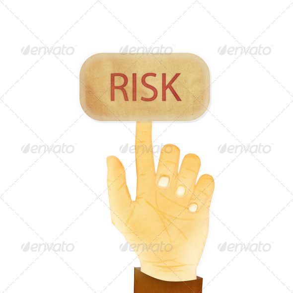 Paper texture ,Hand gesture pointing at Risk button - Stock Photo - Images