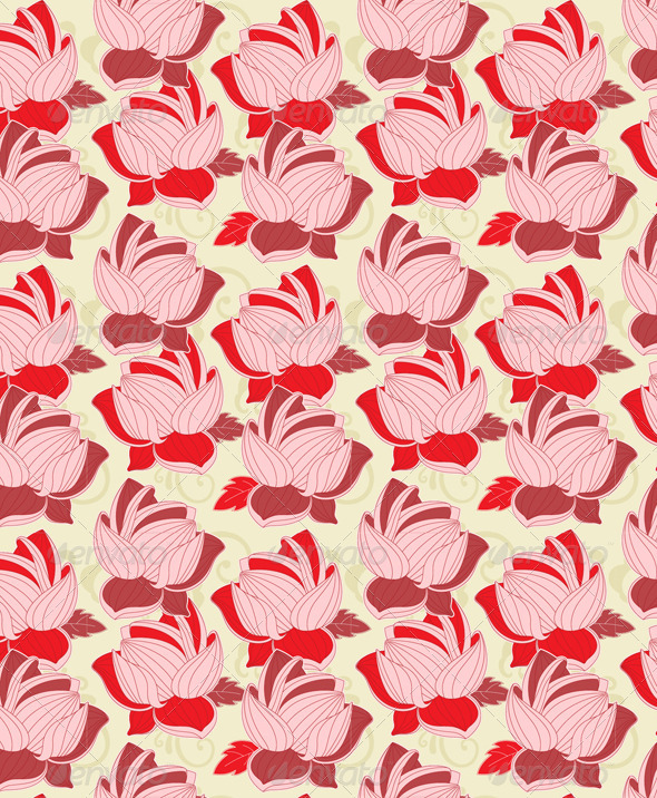 Seamless Pattern with  Red Lotus - Patterns Decorative