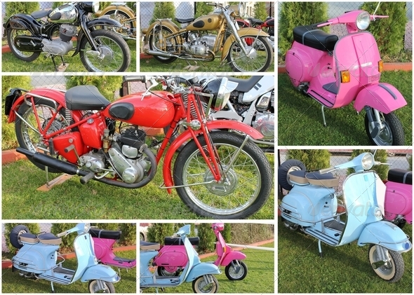 Collage of Old School Motorcycles - Stock Photo - Images