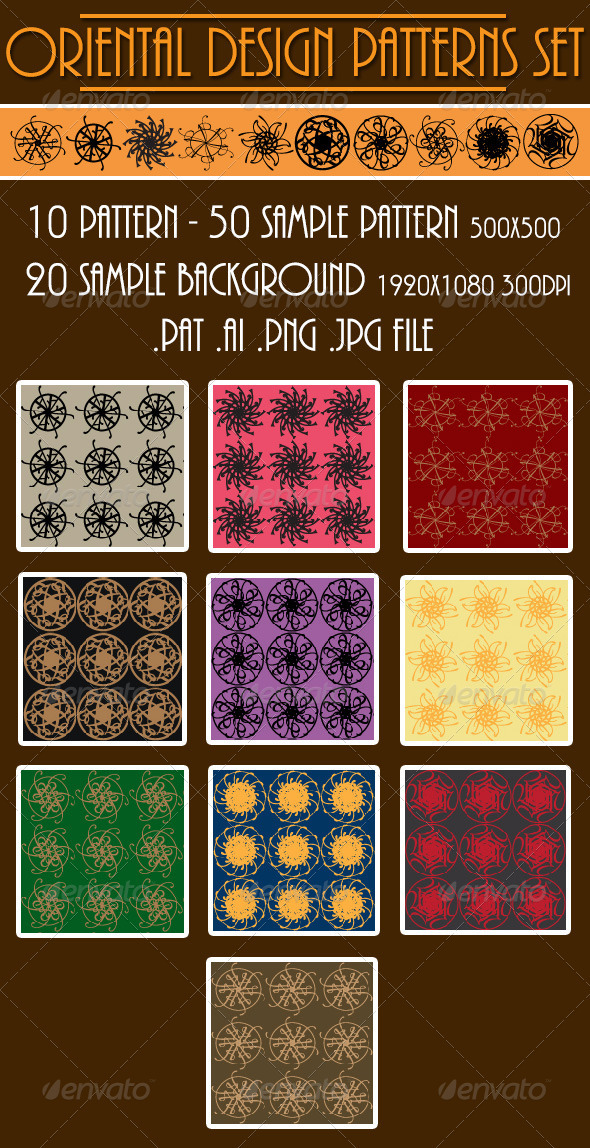 Oriental Design Patterns Set - Textures / Fills / Patterns Photoshop