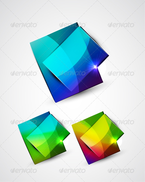 Shiny Colorful Vector Plates - Decorative Symbols Decorative