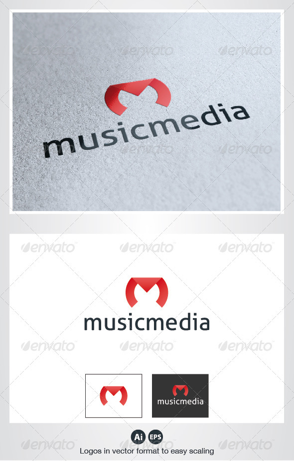 Music Media M Letter Logo - Letters Logo Templates