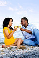 Happy Couple Having Wine On Beach - PhotoDune Item for Sale