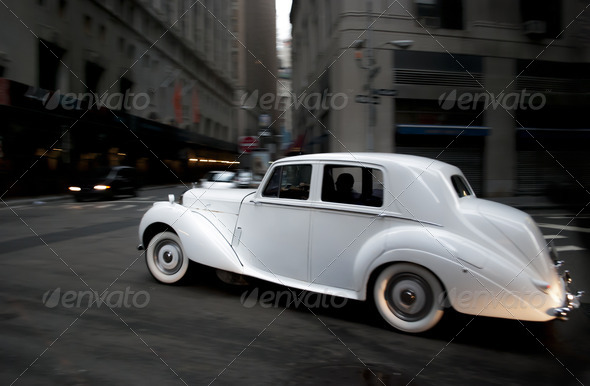 white wedding car  - Stock Photo - Images