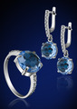Jewelry set with brilliants on blue - PhotoDune Item for Sale