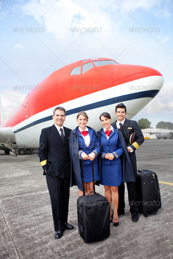 Airplane cabin crew - Stock Photo - Images
