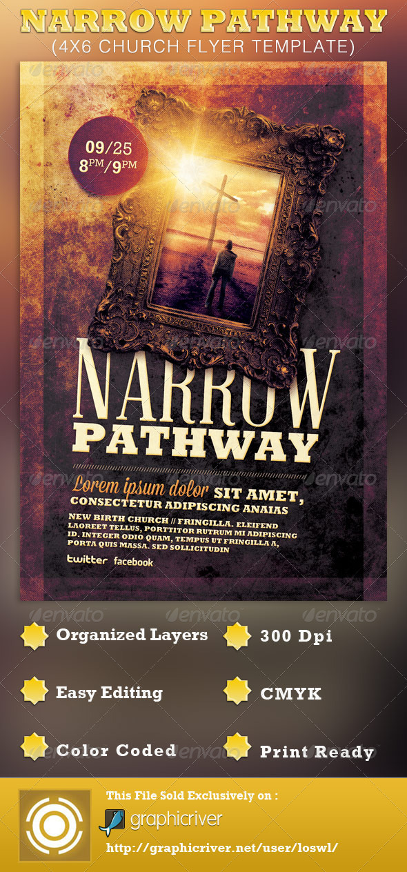 Narrow Pathway Church Flyer Template - Church Flyers