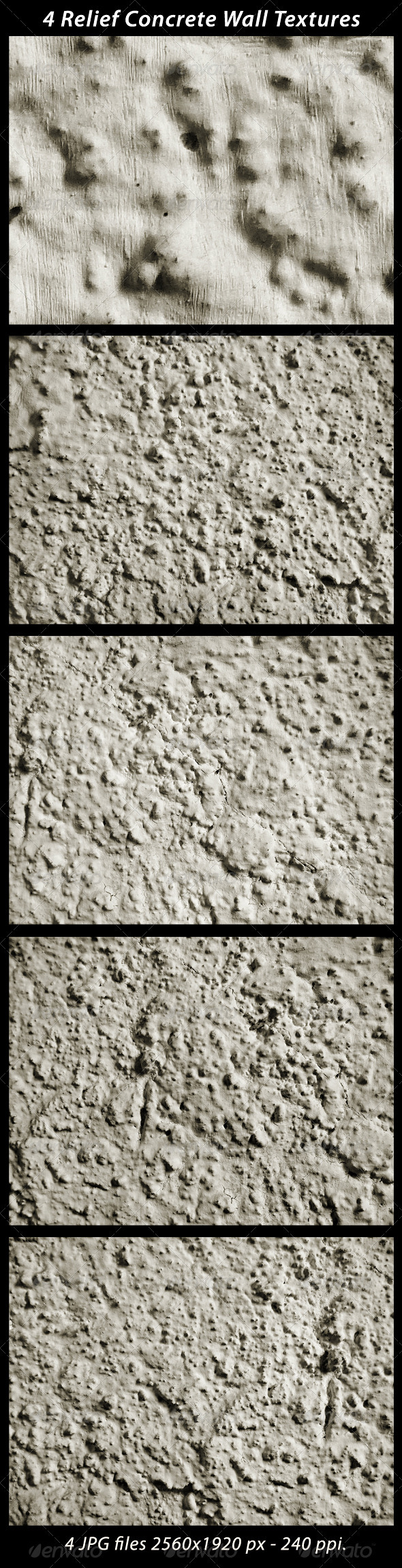 4 Relief Concrete Wall Textures - Concrete Textures