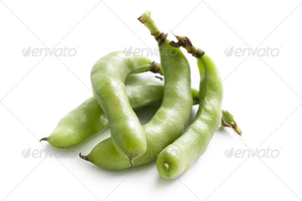 broad beans on white background - Stock Photo - Images