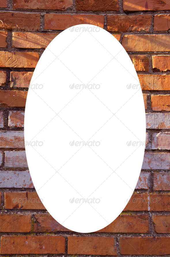 Red brick wall background and white oval in center - Stock Photo - Images