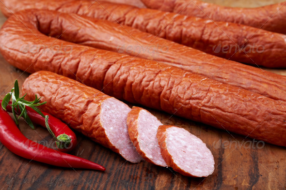 smoked sausages - Stock Photo - Images