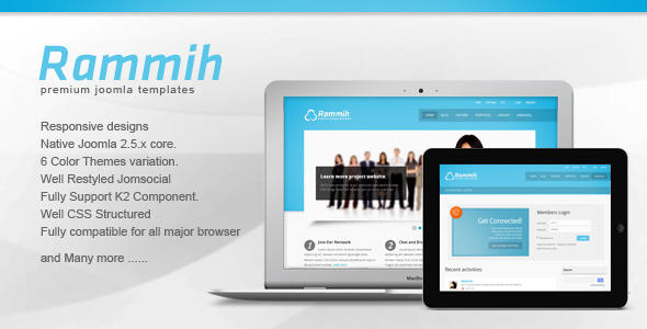 Rammih - Responsive JomSocial Joomla Template