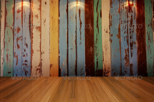 empty room vintage color wall - Stock Photo - Images