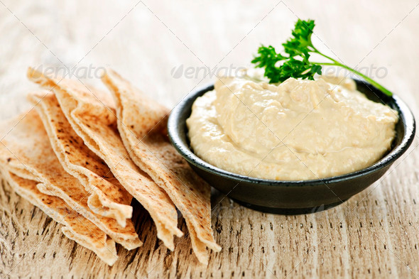 Stock Photo - PhotoDune Hummus With Pita Bread 201248