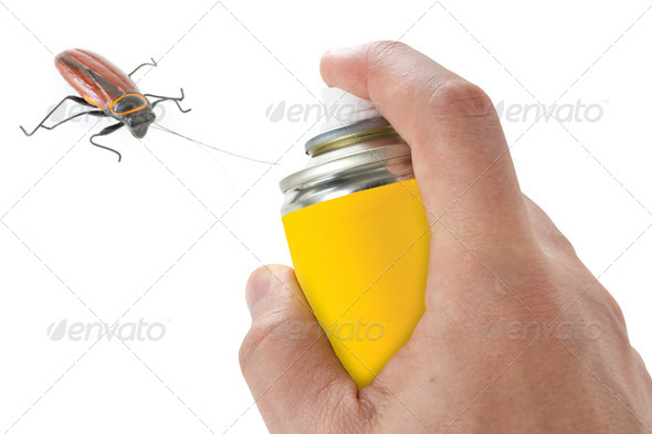 Spraying Insecticide On Cockroach - Stock Photo - Images