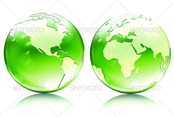 Glossy earth map globes - Conceptual Vectors