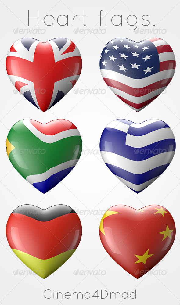 6 Heart Shaped Flags - 3D Renders Graphics