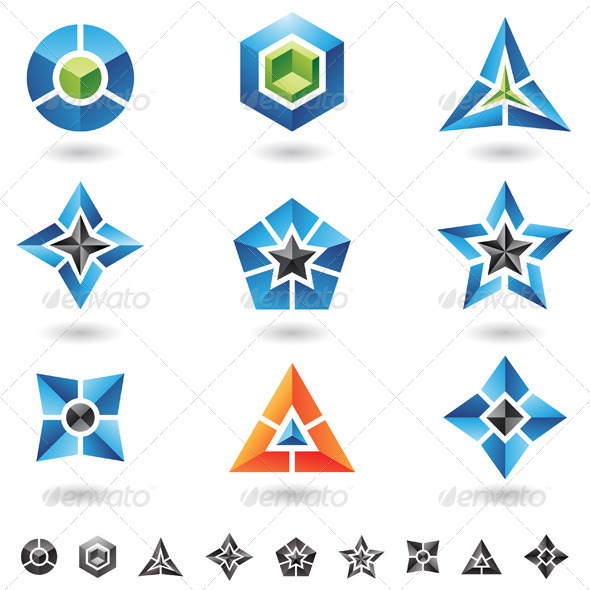cubes, stars, pyramids - Abstract Icons