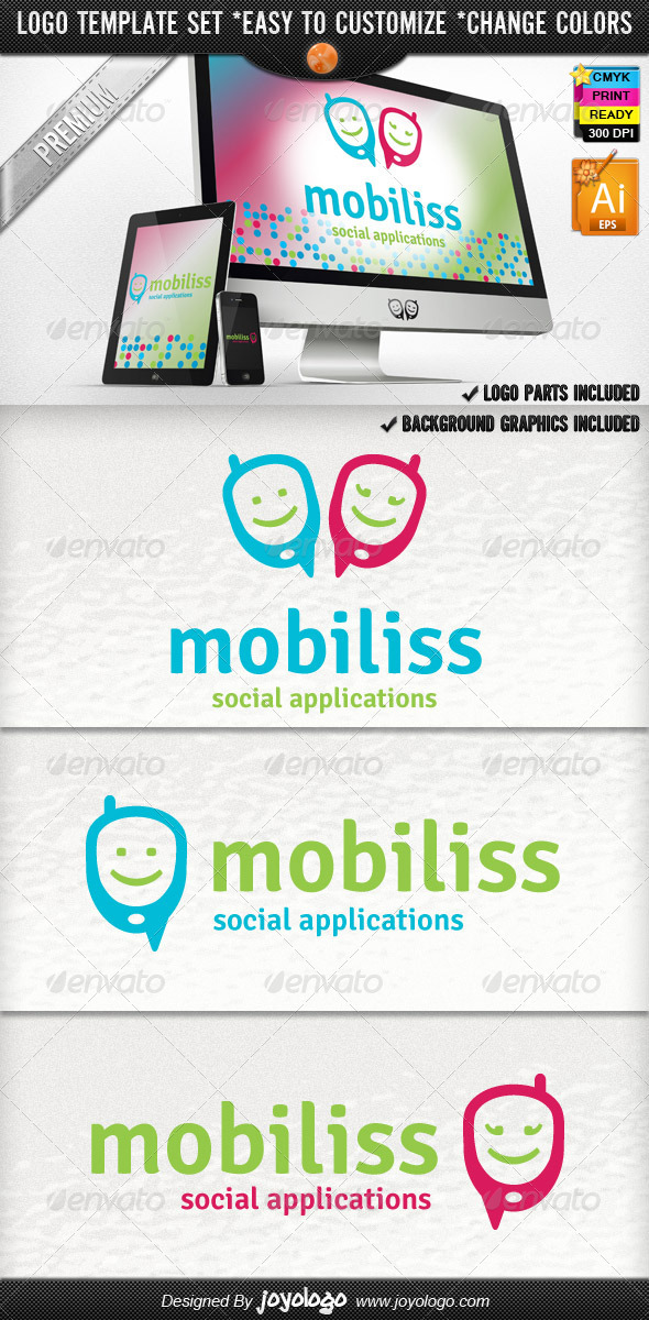 Bliss Mobile App Development Social Phone Logo V.2 - Objects Logo Templates