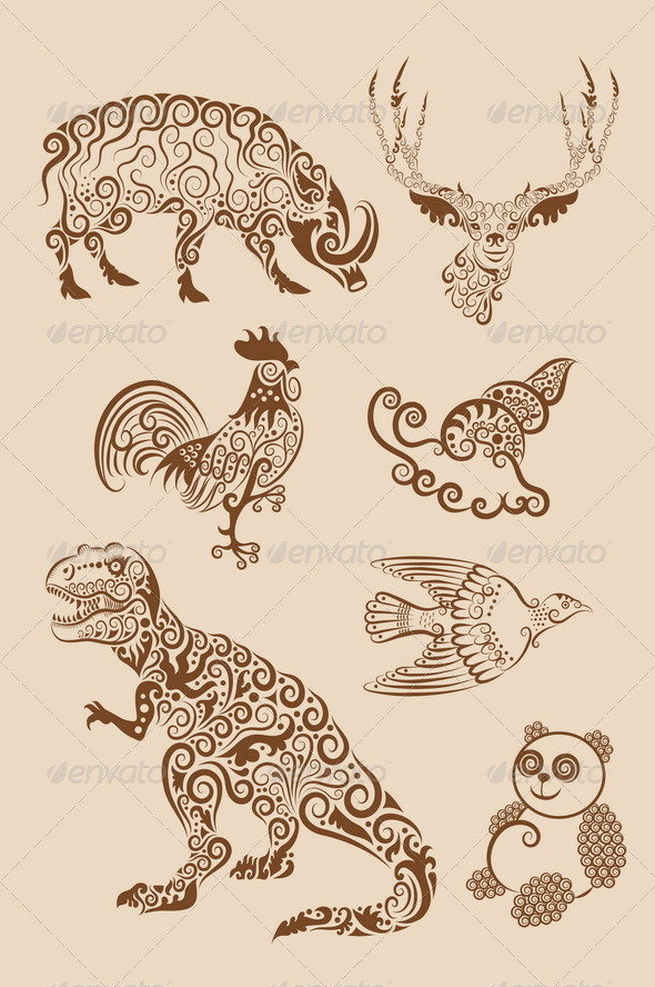 Animal ornament (dinosaur, rooster, etc.) - Flourishes / Swirls Decorative