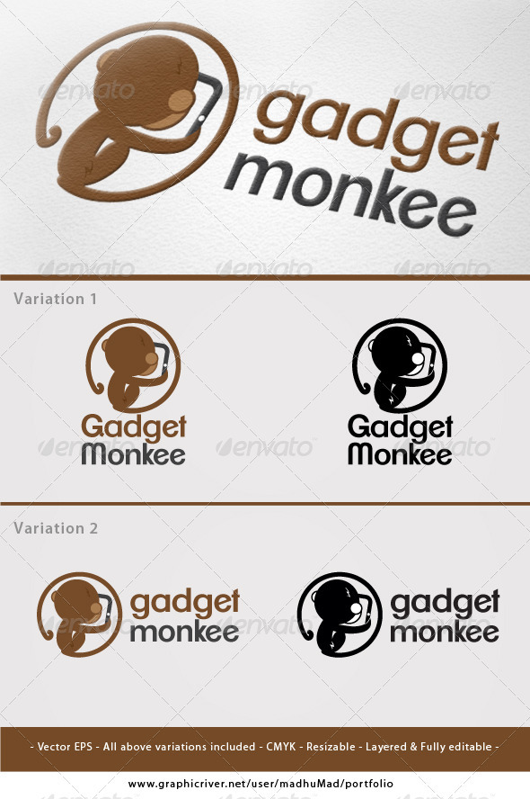 Gadget Monkee Logo   - Animals Logo Templates