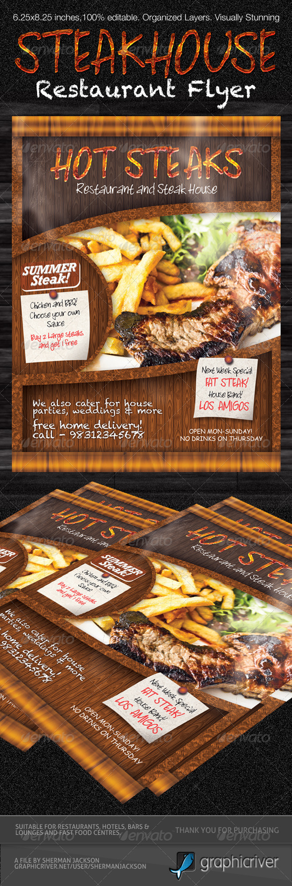 Restaurant Steak House Flyer PSD Template - Restaurant Flyers