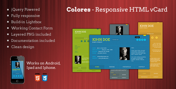 Colores - Responsive HTML5 vCard - Virtual Business Card Personal
