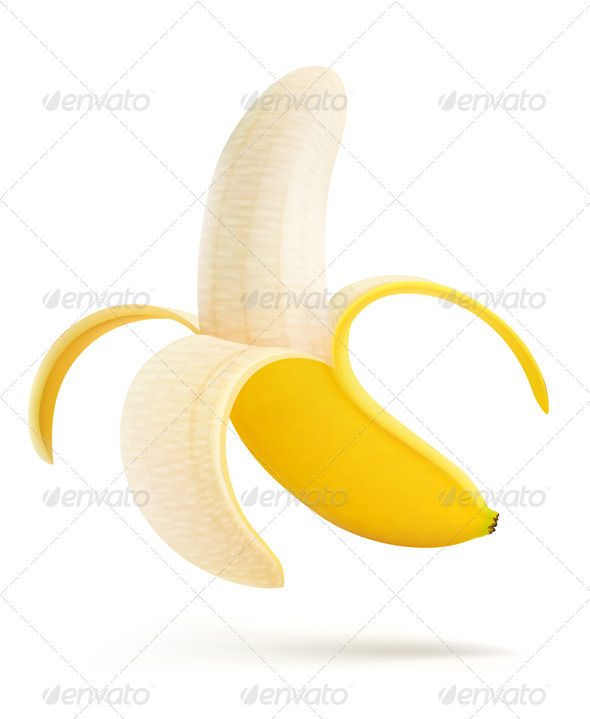 Half peeled banana - Food Objects