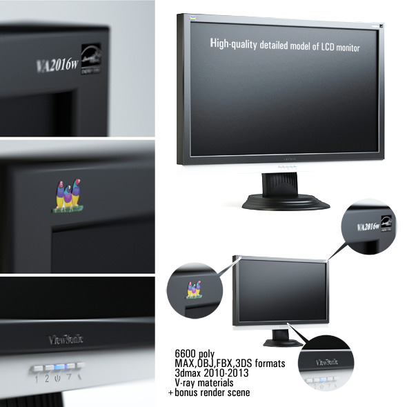 3DOcean High-quality detailed model of LCD monitor 2792659