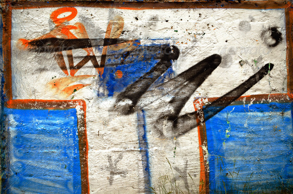 Background of white wall painted graffiti - Stock Photo - Images