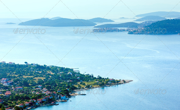 Morning summer coastline and village  on seashore (Peljesac  pe - Stock Photo - Images