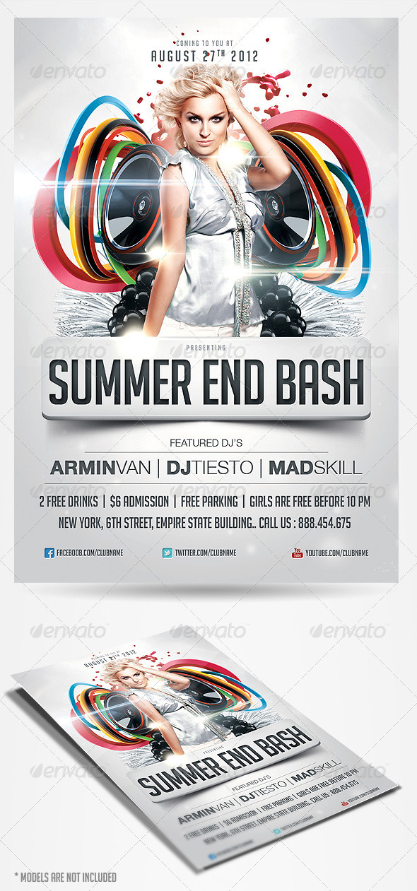 Summer End Bash Party Flyer - Clubs &amp; Parties Events